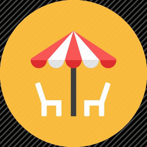 chair, outdoor, umbrella icon