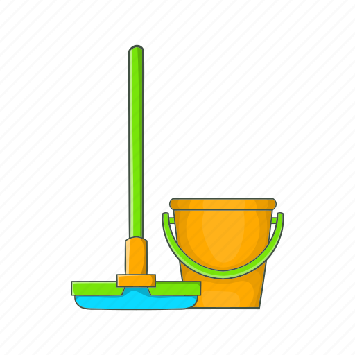 bucket, cartoon, clean, cleanup, hygiene, mop, tool icon