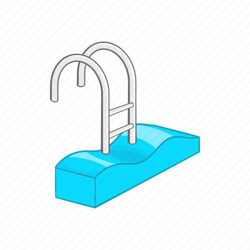 blue, cartoon, pool, sport, stairs, summer, water icon