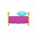 bed, bedroom, cartoon, furniture, hotel, pillow, sleep icon