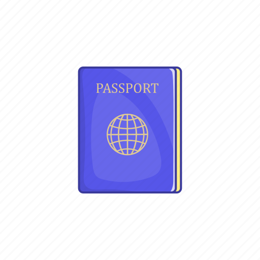 cartoon, journey, pass, passport, sign, tourism, travel icon