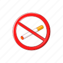 cartoon, cigarette, no, sign, smoke, tobacco, warning icon
