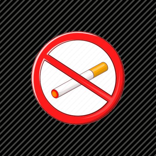cartoon, cigarette, no, sign, smoke, tobacco, warning icon