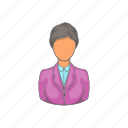 cartoon, desk, hotel, person, reception, receptionist, woman icon