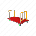 bag, cart, cartoon, luggage, suitcase, transportation, trolley icon
