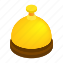 assistance, bell, gold, hotel, isometric, reception, service