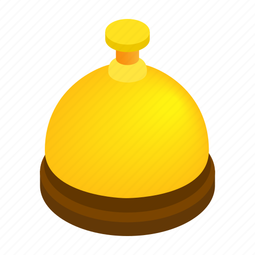 assistance, bell, gold, hotel, isometric, reception, service icon