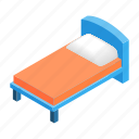 bed, bedroom, furniture, hotel, isometric, pillow, sleep icon