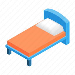 bed, bedroom, furniture, hotel, isometric, pillow, sleep icon