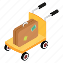 bag, cart, isometric, luggage, suitcase, transportation, trolley icon