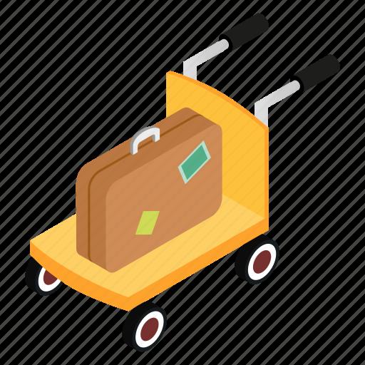bag, cart, isometric, luggage, suitcase, transportation, trolley icon