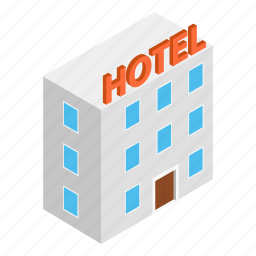 apartment, building, hotel, isometric, motel, office, real icon