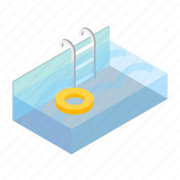 ifebuoy, isometric, nobody, pool, stairs, summer, water icon