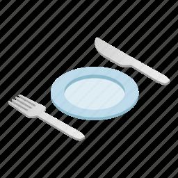 cutlery, dishware, empty, isometric, knife, silverware, utensil icon