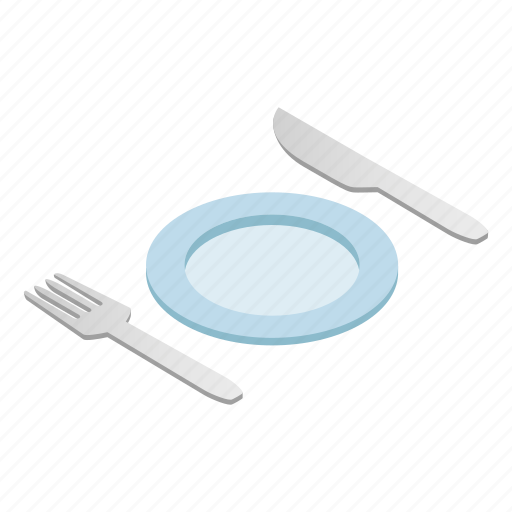 cutlery, dishware, empty, isometric, knife, silverware, utensil icon