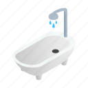 bath, bathroom, interior, isometric, room, shower, white icon