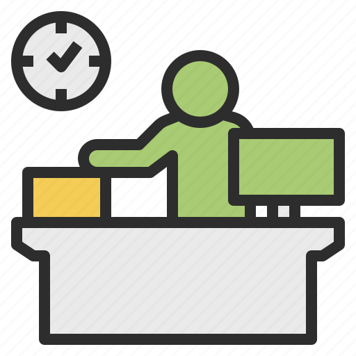 clerk, counter, desk, front, reception icon