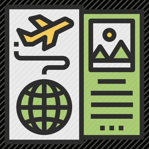 agency, brochures, journey, plan, travel icon