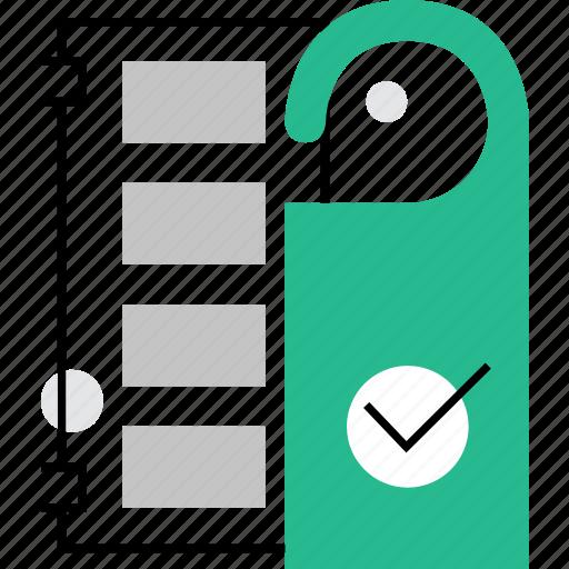 door, hotel, label, room, service icon