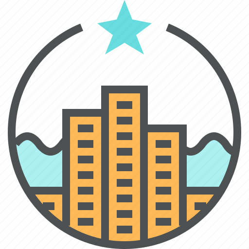 architecture, building, emblem, hotel, logo, property, skyscraper, star icon