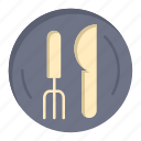 hotel, kneef, plate, service icon