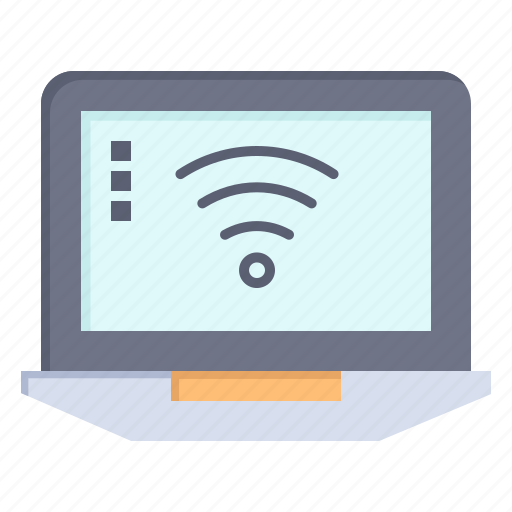 computer, laptop, signal, wifi icon