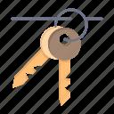 hotel, key, keys, room icon
