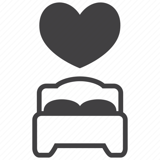 Bed, bedroom, furniture, heart, hotel, love, sleep icon - Download on Iconfinder