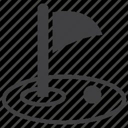 ball, flag, golf, golfer, grass, sport, sports icon