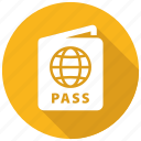 pass, passport, travel icon