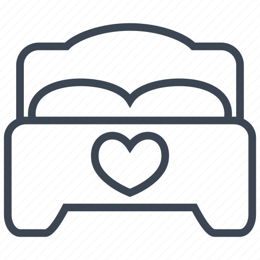 bed, bedroom, furniture, heart, interior, love, sleep icon