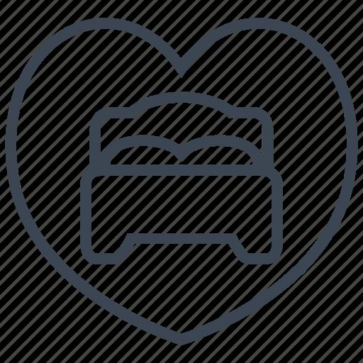 Bed, bedroom, heart, love, sleep, valentine, romantic icon - Download on Iconfinder
