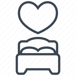 bed, bedroom, heart, hotel, romance, romantic, sleep icon