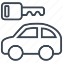 auto, car, for rent, key, rental, transport, vehicle icon