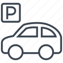 car, parking, sign, transport, transportation, travel, vehicle icon