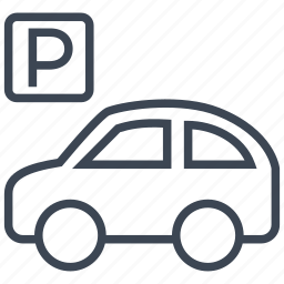 car, parking, sign, transport, transportation, travel, vehicle icon