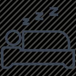 bed, bedroom, furniture, hotel, nap, sleep, sleeping icon