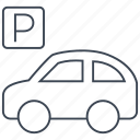 car, parking, parking lot, sign, transport, transportation, vehicle icon