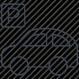car, parking, parking lot, sign, transport, transportation, vehicle icon