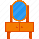 beauty, dresser, dressing table, furniture, furniture and household, mirror, table icon