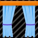 curtains, decoration, furniture, house, interior design, window icon