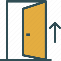 arrow, door, entrance, exit icon