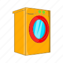 cartoon, cloth, laundry, machine, sign, wash, washer icon
