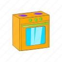 appliance, cartoon, gas, kitchen, oven, sign, stove icon