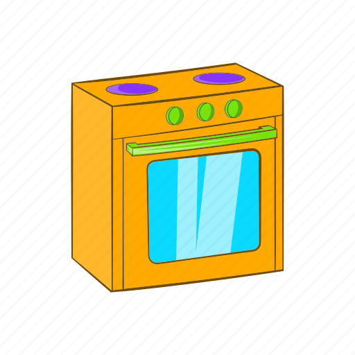appliance, cartoon, gas, kitchen, oven, sign, stove icon