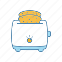 bread toaster, cooking, electric, kitchen appliance, slice, toast, toaster icon