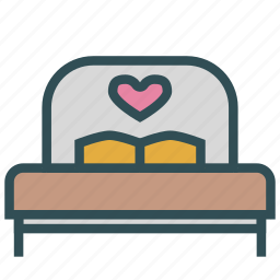 bed, bedroom, furniture, heart, love, matrimonial icon