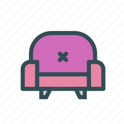big, chair, furniture, home, house, leather icon