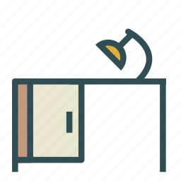 desk, furniture, home, lamp, office icon