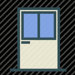 door, entrance, glass, house icon
